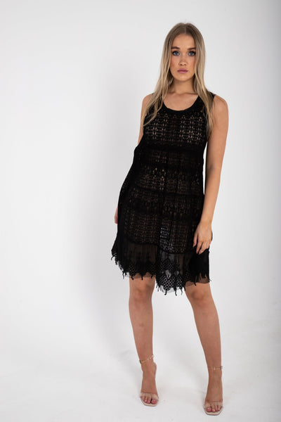 Black Oversized Lace Dress - Funky Fuchsia