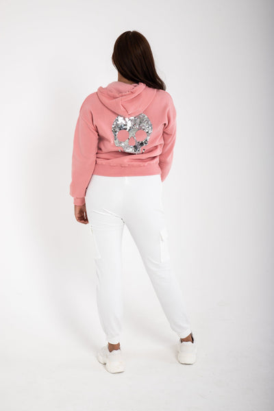 Comfy Sequin Skull Hoodie - Funky Fuchsia