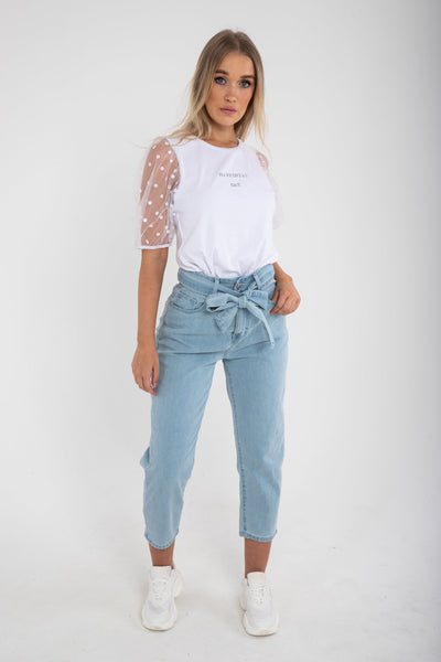 Paperbag Waist Light Blue Cropped Jeans - Funky Fuchsia