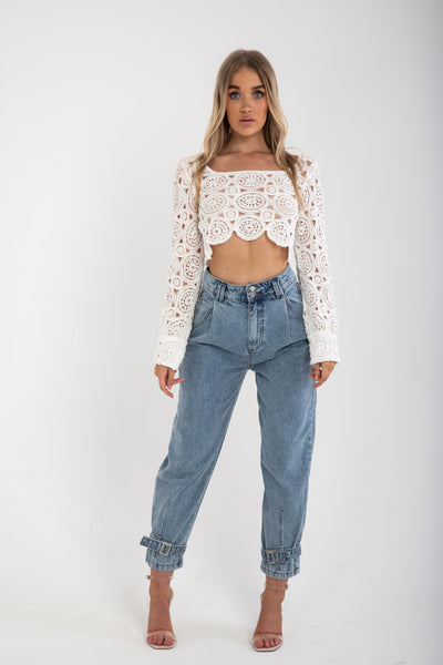 High Waisted Buckle Hem Balloon Fit Jeans - Funky Fuchsia