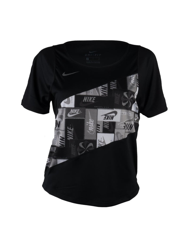 Nike Icon clash Short Sleeve Top for running, women's black CJ1938-010 irun irunsg