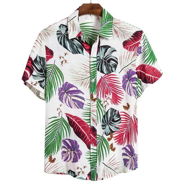 Floral Printed Stand Collar Shirt - CooolPanda