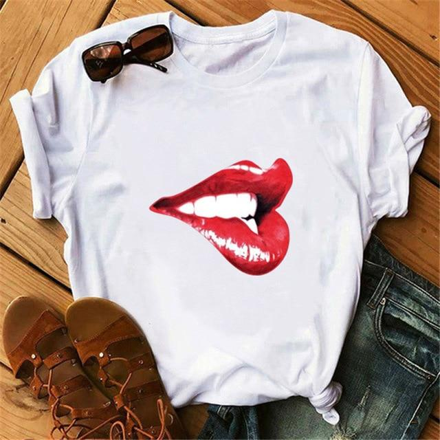 Woman Tshirts Red Mouth Lip Letter - CooolPanda