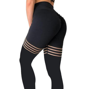 Black Hollow Spliced Leggings - Fit  Beauty Ness