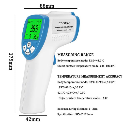 Club Fitness LCD Display Digital Infrared Forehead Thermometer - Fit  Beauty Ness