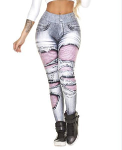 Ripped Jeans Print Push Up Leggings - Fit  Beauty Ness