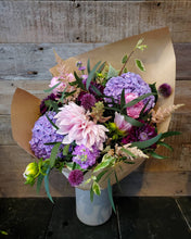 Load image into Gallery viewer, Gorgeous violets and jewel tone flowers are the ultimate complimentary bouquet.