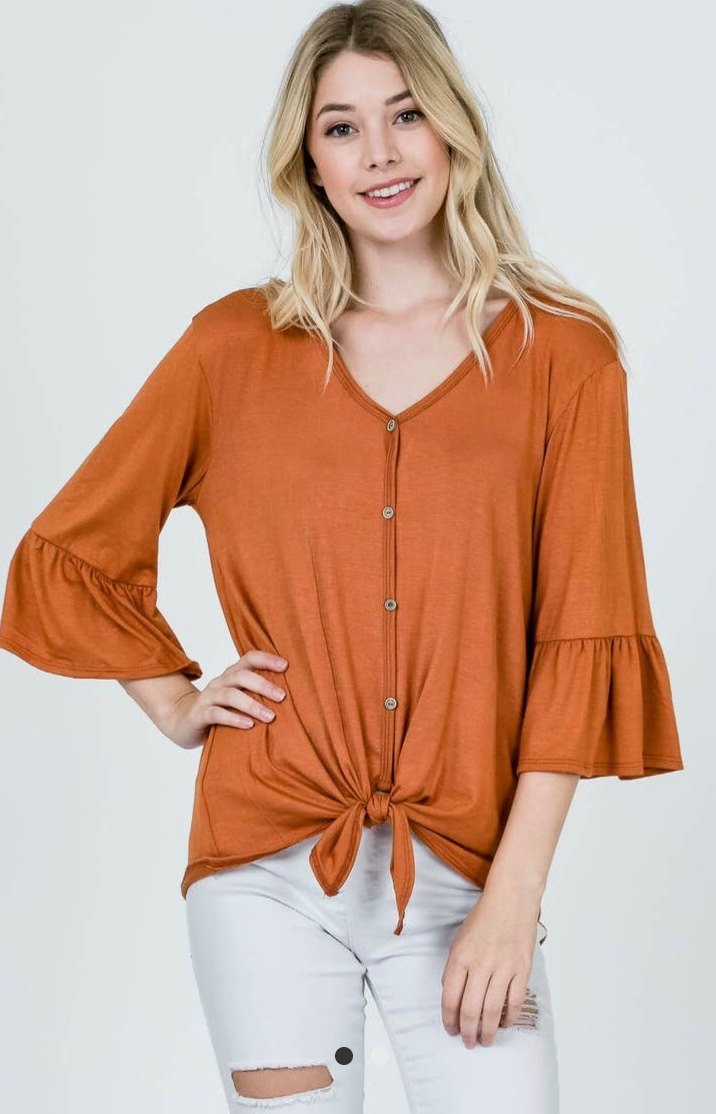 Button Down Tie Front Ruffle Sleeve Top