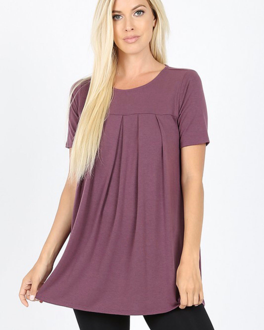 Pleated Plum Top with Pockets