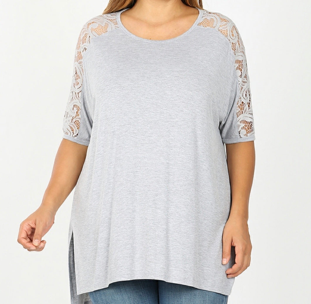 PLUS Heathered Grey Lace Sleeve Top