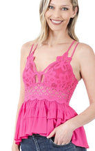 Load image into Gallery viewer, Fuchsia Crochet Lace Ruffle Top