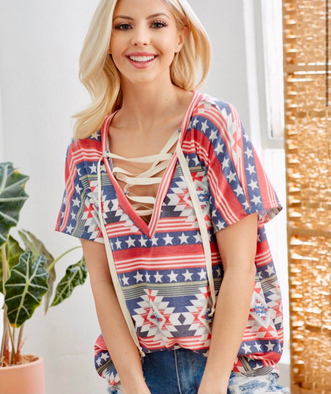 Made in America Lace Up Top