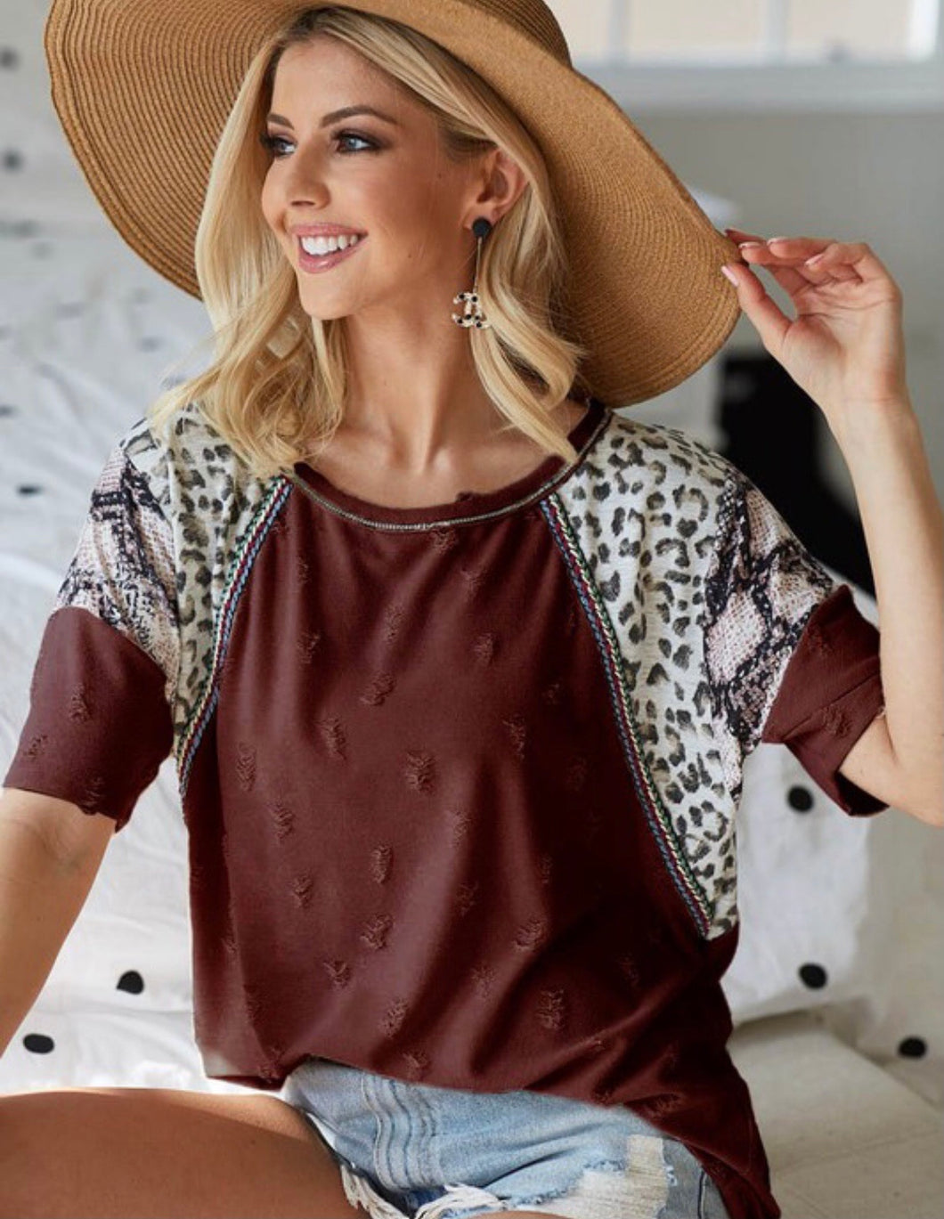 Distressed Burgundy Animal Print Top