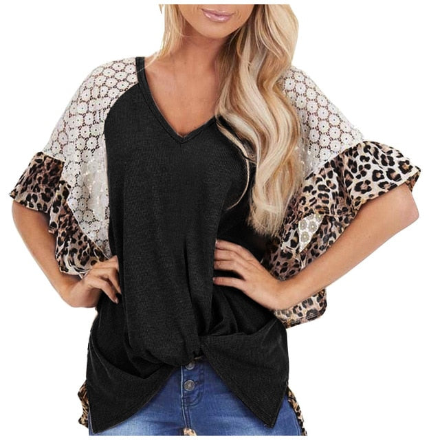 Leopard Print Lace Tee