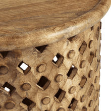 Load image into Gallery viewer, Tribal Carved Wood Accent Table Small