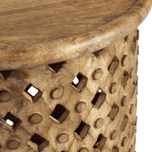 Tribal Carved Wood Accent Table Small