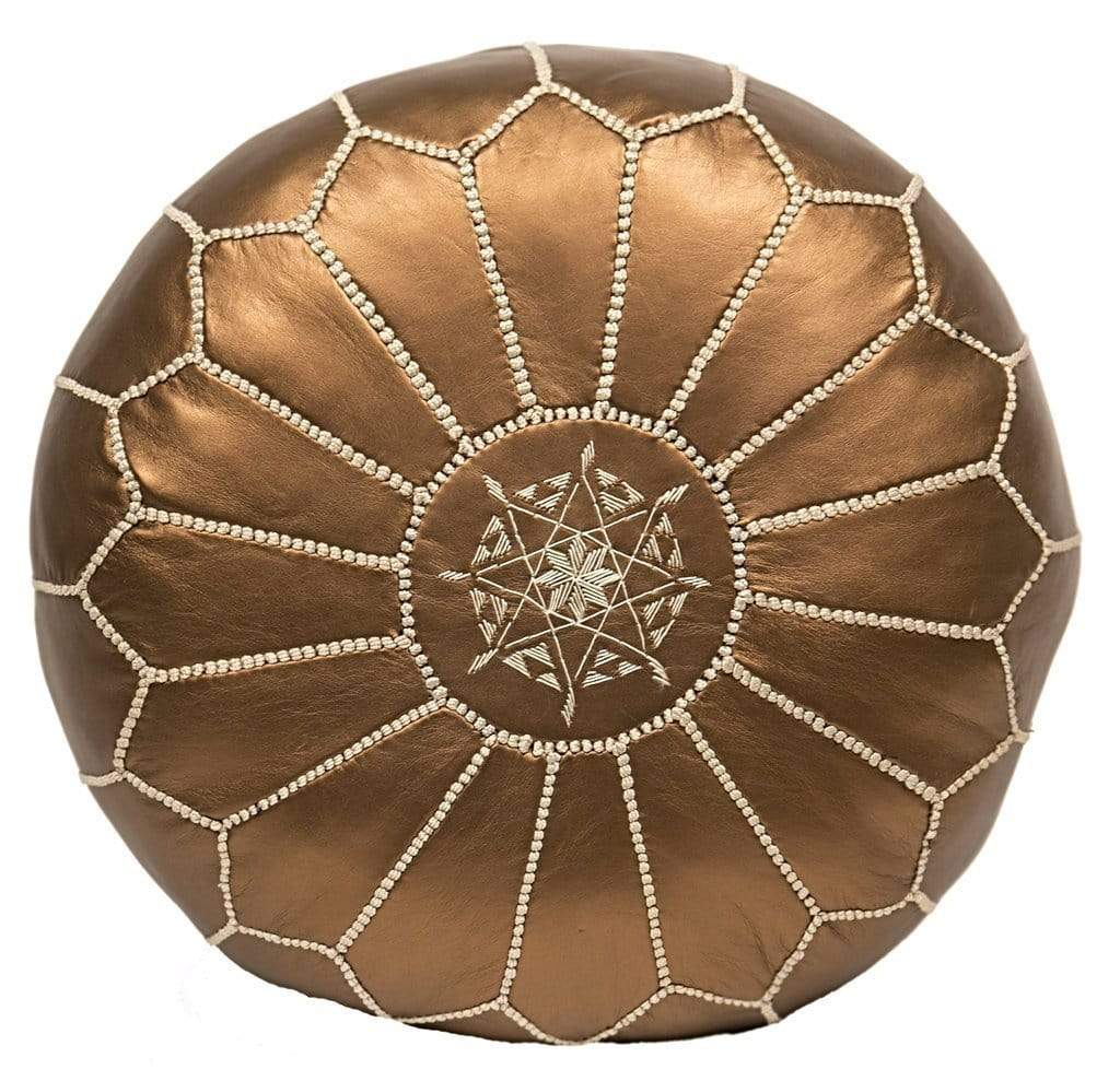 Moroccan Embroidered Leather Pouf Metallic Bronze