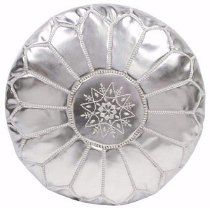 Moroccan Embroidered Leather Pouf Silver
