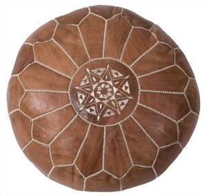 Moroccan Embroidered Leather Pouf Tan/ Natural