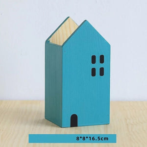 House Shape Wood Pen Holder - Harper Capital Solutions