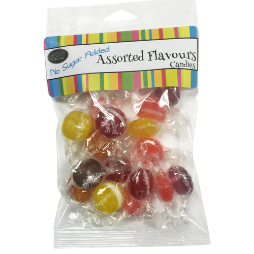 Scrumptious sugar free Assorted Flavours hard candies. Superior quality and domestically produced, this candy provides an exquisite array of flavours  to delight and excite the most demanding palate. Cello package.