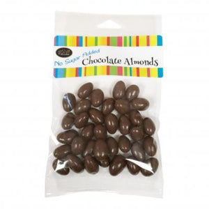 Delicious chocolate covered almonds with no sugar added! Cello package.