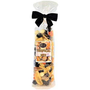 Tropical Mix contains Roasted Salted Peanuts, Raisins, Yogurt Raisins, Yogurt Peanuts, Diced Papaya, Diced Pineapple, Diced Dates, Banana Chips, Roasted Salted Sunflower Seeds, Roasted Salted Almonds and Milk Pina Colada balls. Cello bag with ribbon 160g.