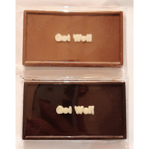 Get Well handmade belgian chocolate plaque.  4 inches x 2.5 inches.  Cello wrapped.  Available in dark or milk chocolate.