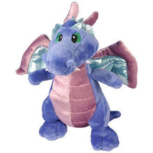 "Load image into Gallery viewer, Adorable blue and purple dragon, 7"" long, soft plush.  Squeeze tummy to hear sound!"