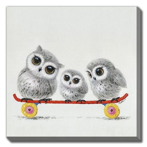 3 adorable owls on skateboard Fine art printed on canvas and gallery wrapped 16