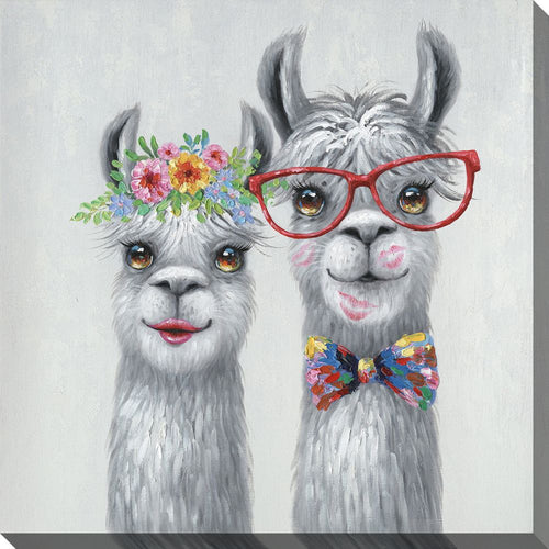 Adorable llama sweethearts with lipstick kisses, bow tie and flowers Fine art printed on canvas and gallery wrapped 16