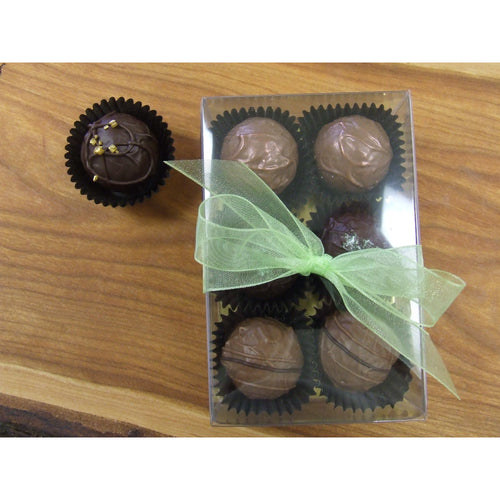 Clear box with ribbon of 6 handmade Belgian chocolate truffles.