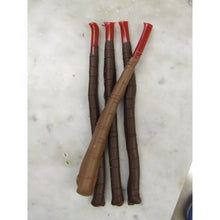 Load image into Gallery viewer, Package of 4 6 inch red licorice sticks dipped in hand made Belgian chocolate.  Cello wrapped.  Available in dark or milk chocolate.