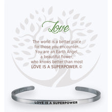 "Load image into Gallery viewer, Each cuff bracelet is from a line of high quality stainless-steel. Our bracelets each include a gift box and card of caring instructions making them the perfect present for all ""The Angels of Our Lives"".  Choose from:  Mom, Sister, Friend, Teacher, Daughter, Grand-daughter, Grandma, Strength, Nurse, Birthday, Love, Proud of You"