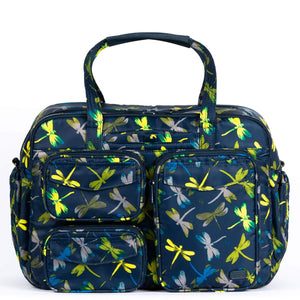 "The Puddle Jumper Duffel has the same great functionality and style as the other PJ's but in an east/west design. While incorporating the original exterior pocket design and adding more to the interior, this bag will keep you organized for home, work and play. No matter where you're going - you'll be sure to love this bag!  Dimensions: 15""W x 11""H x 6.25""D . Available in Dragonfly Navy, Heather Black, Heather Indigo."