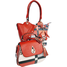 Load image into Gallery viewer, wo handbags for the price of one!  Stylish plaid handbag with tassels and gold tone hardware.  Available in red/black or white/navy. Optional shoulder strap.