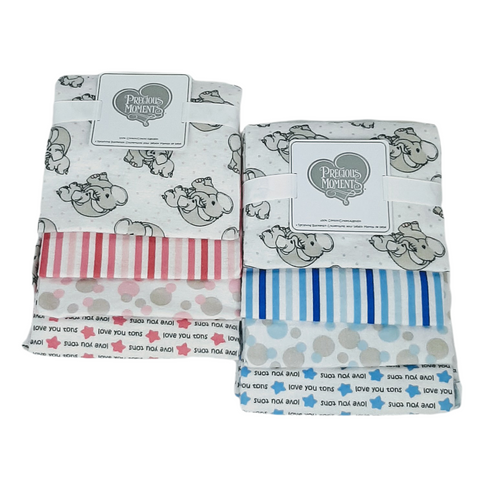 Precious Moments set of 4 receiving blankets in elephants, stripes, I love you tons stars and bubble circles.  Choose from pink or blue assortment.