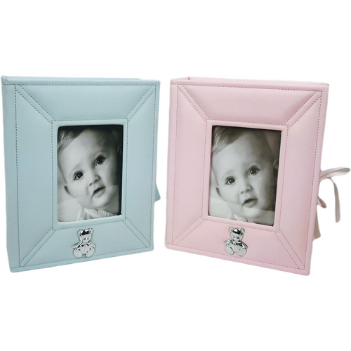 Pink or blue keepsake box with frame cover.  Inside are many compartments for the special moments marking a baby's life such as first tooth, first curl, hospital bracelet etc.
