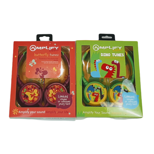 Colourful headphones for kids in monster, butterfly or dinosaur theme.  Volume limiting to safeguard young ears.  Full colour gift box.