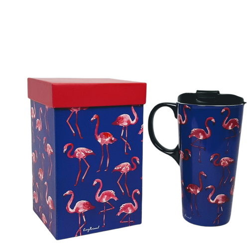 17 ounce ceramic travel mug.  Bright pink flamingos on dark blue background.  Black lid and handle.  Full colour matching gift box.