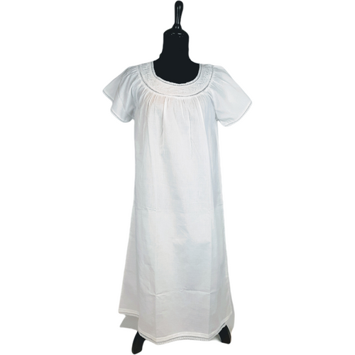 Short Sleeve 100% cotton 3/4 length nightgown.  100% Cotton Embroidery Detail on Neckline Crocheted Trim .