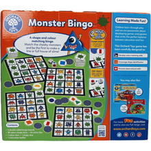 Load image into Gallery viewer, Monster Bingo is perfect for teaching basic shape and colour skills as children are encouraged to identify and read aloud both the shape and colour before looking for the corresponding monster on their board. Features a range of shapes from simple shapes like squares and circles to semi-circles and diamonds. Children will also love looking at the cheeky monsters and the silly faces they are pulling!