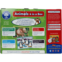 Load image into Gallery viewer, Childrens jigsaw puzzles consisting of 4, 6, 8 & 12 pieces all with animal theme for ages 3 and up. Colourfully boxed with a carrying strap