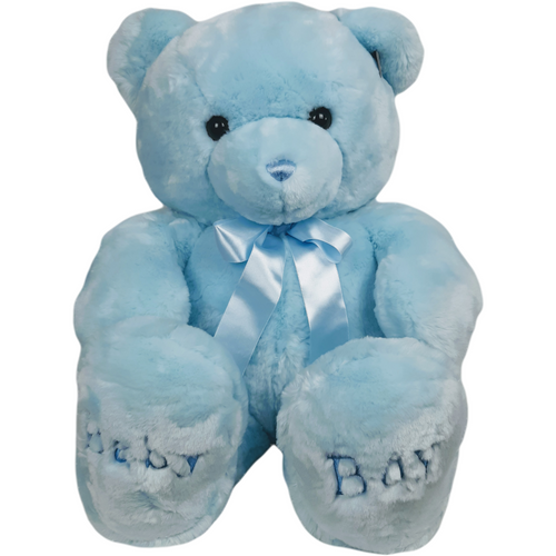36 inch jumbo bear with ribbonned bow around neck and Baby Boy or Baby Girl embroidered on the feet.  Available in pink baby girl or blue baby boy.