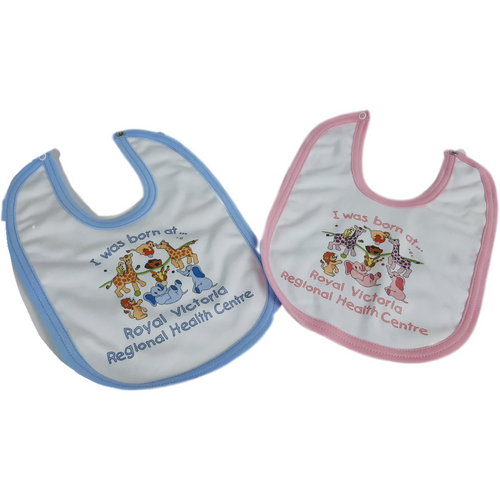 This double layer bib in soft cotton interlock features a sweet little ark design with your