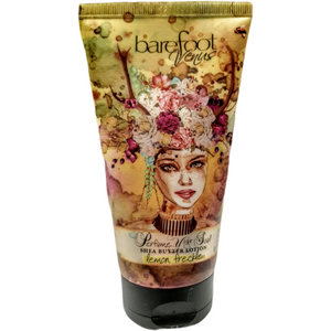 Lemon Freckle Shea Butter Lotion by Barefoot Venus. For healthy, great smelling skin massage throughout the day to keep skin moisturized and protected.  Created with: Shea Butter, Macadamia Oil, Sweet Almond oil, Plant Extracts  Created without: Parabens, Propylene Glycol, Mineral oil, Synthetic Colour