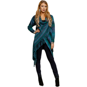 Ombre striped soft cowl neck sweater with long sleeves drapes across and buttons on one shoulder. Fringe detail on hem, long sleeves, longer at back and sides. Available in either rust multi or blue multi