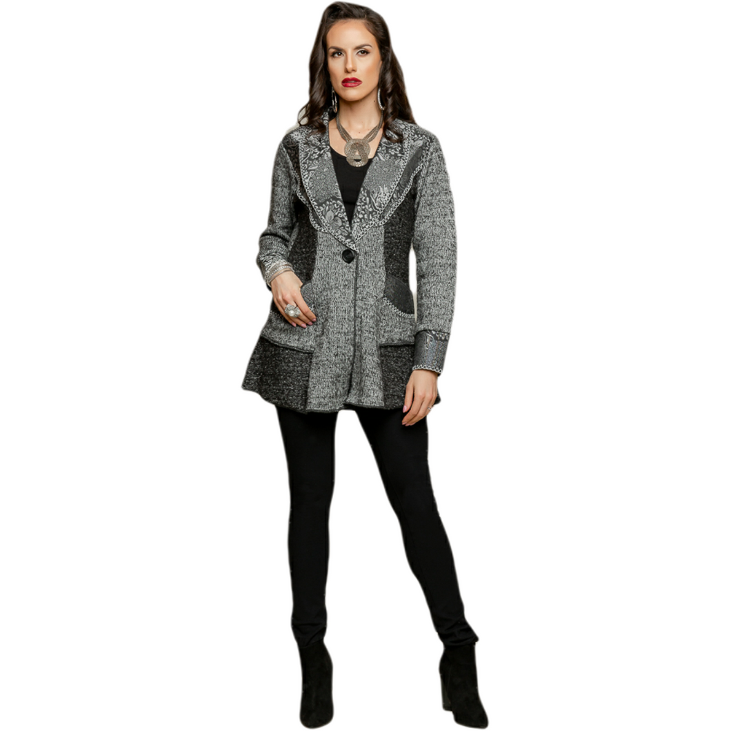 One button jacket mid thigh length in gray and black with embroidered detail on shawl colour.