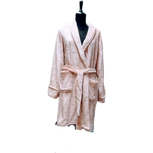 Premium fleece robe with shawl colour, belt , pockets and accented with silver foil dots, stars or hearts.  Available in denim blue, light grey, dark grey, mauve, blush.  One size.