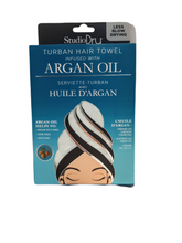 Load image into Gallery viewer, SAVE YOUR HAIR!  Using a regular cotton towel is harsh on locks and can lead to breakage and frizz.  Our gentle microfiber is designed to dry faster than a regular cotton towel, saving time and blow-drying.  Four types to choose from:  Vitamin C Argan Oil Tea Tree Oil Coconut Oil
